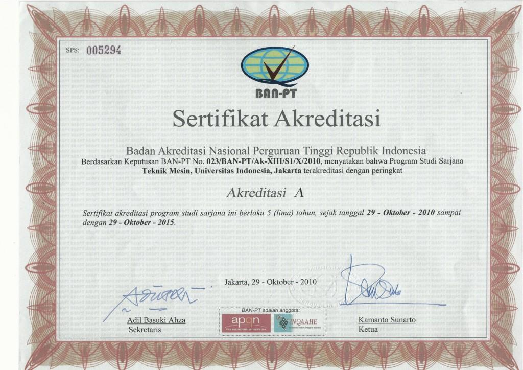 Sertifikat BAN S1 Mesin 29-10-2010 sd 29-10-2015-1