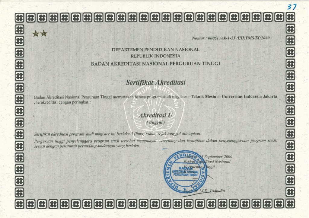 Sertifikat BAN S2 Mesin 2000 - 2005-1